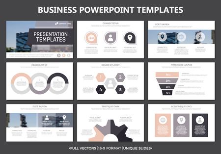 slide show: Set of colored elements for multipurpose presentation template slides with graphs and charts. Leaflet, corporate report, marketing, advertising, annual report, book cover design. Illustration