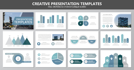 slide show: Set of blue and gray elements for multipurpose presentation template slides with graphs and charts. Leaflet, corporate report, marketing, advertising, annual report, book cover design.