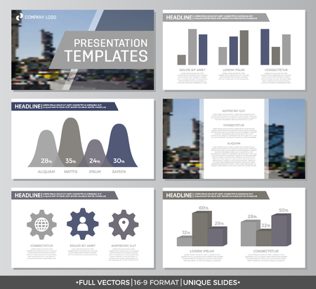 slide show: Set of gray elements for multipurpose presentation template slides with graphs and charts. Leaflet, corporate report, marketing, advertising, annual report, book cover design.