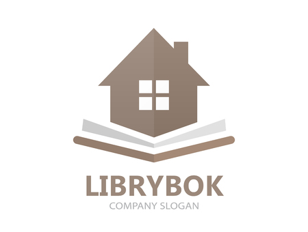 Unique book and house logo combination design template