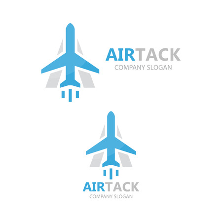 fly up: airplane and a letter logo design.