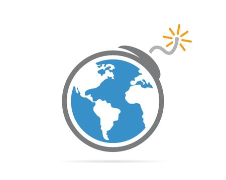 terrorist attack: logo design combination of a earth and bomb. Earth and bomb symbol or icon