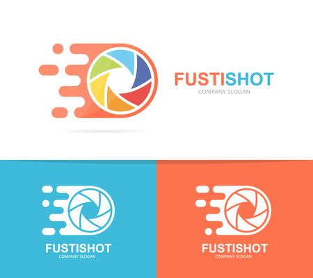 snelle combinatie van sluiter en camera. Snelheidslenssymbool of pictogram. Unieke foto- en focuslogotype ontwerpsjabloon.
