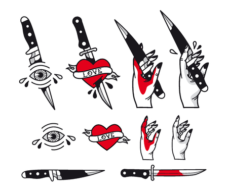 traditional tattoo style set - hearts, knife, eye, hand, ribbons. Vintage ink old school tattooing