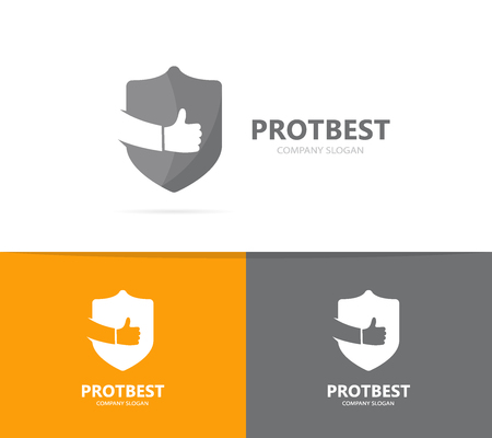 best protection: shield and like logo combination. Security and best symbol or icon. Unique protect and lawyer logotype design template. Stock Photo
