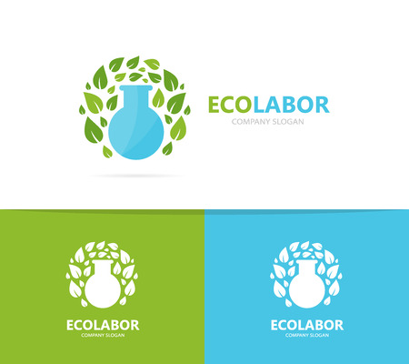 flask and leaf logo combination. Laboratory and eco symbol or icon. Unique organic and bottle logotype design template.
