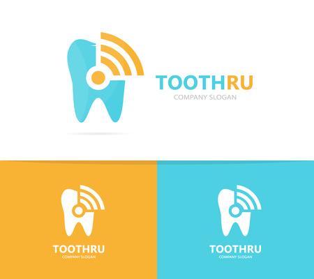 comunicacion oral: tooth and wifi logo combination. Dental and signal symbol or icon. Unique clinic and radio, internet logotype design template. Foto de archivo
