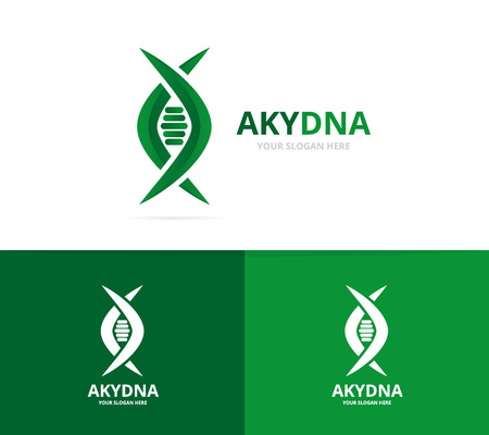 Vector of dna and genetic logo combination. Science and helix symbol or icon. Unique spiral and evolution logotype design template. Illustration