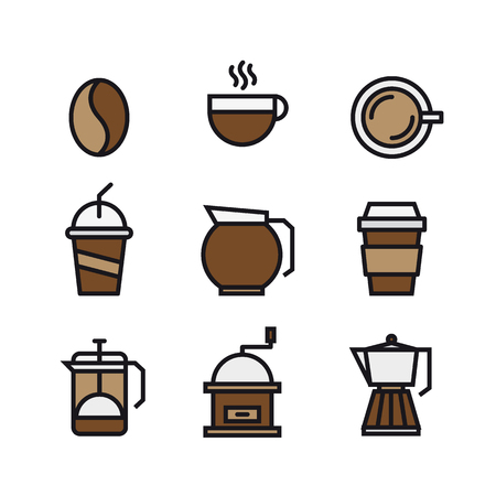 pause icon: Set of coffee and drink flat color icons