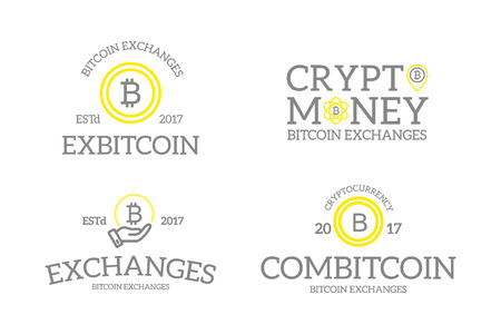electronic commerce: Unique retro vintage digital money and bitcoin, cryptocurrency logos or insignias, emblems, labels and badges and other branding objects. Vector line style.