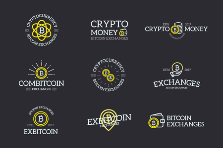 Set of digital money and bitcoin, cryptocurrency logo, labels and badges vector design elements on dark background. Retro typography decoration objects and symbols, vintage ornaments.