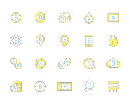 Set of vector colored bitcoin icons. Investments, cloud technologies, payments and exchange, mobile app, wallet, bundle of money, hand with a coin and more. Editable Stroke. Illustration