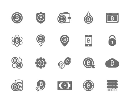 Set of vector bitcoin symbol or icon. Investments, payments and exchange, internet banking, wallet, bundle of money and a coin. Minimal pictogram design, editable stroke for any resolution.