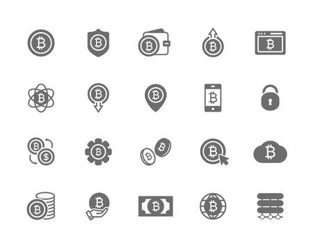 Set van vector bitcoin symbool of pictogram. Investeringen, betalingen en omwisseling, internetbankieren, portemonnee, bundel van geld en een munt. Minimaal pictogramontwerp, bewerkbare streek voor elke resolutie.