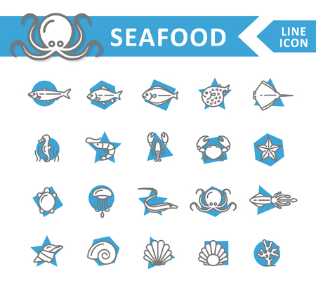 Set of vector fish and sea food line icons. Shrimp, oyster, squid, crab, ell, fugu, lobster, carp, sturgeon, jellyfish, octopus, turtle, starfish, coral, sell, seahorse and more. Editable Stroke. Illustration