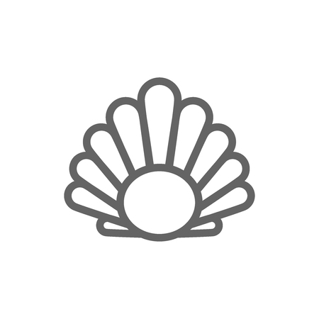 Simple perl in a shell line icon. Symbol and sign vector illustration design. Editable Stroke. Isolated on white background