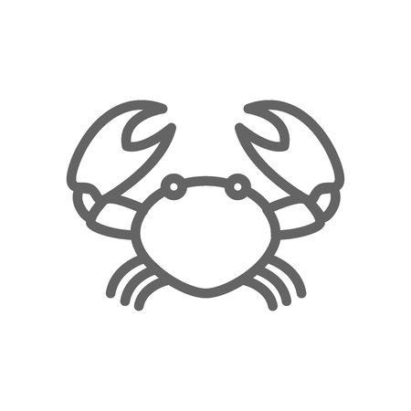 Simple crab line icon. Symbol and sign vector illustration design. Editable Stroke. Isolated on white background