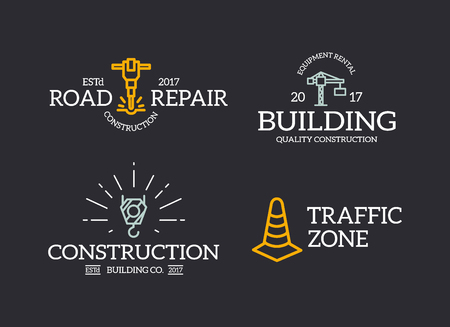 Set of retro vintage construction, traffic cone, crane hook, jackhammer logo or insignia, emblems, labels and badges and other branding objects. Vector line style Logo