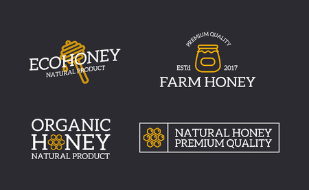 Set of retro vintage honey and bee, honeycomb, dipper logo or insignia, emblems, labels and badges and other branding objects. Vector line style Illustration