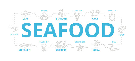Vector seafood and fish thin line banner for design concept. Illustration for presentations on white background Illustration