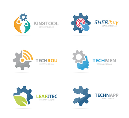 Set of gear logo combination. Mechanic and technology symbol or icon. Unique factory and industrial logotype design template.