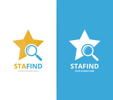 Vector star and loupe logo combination. Leader and magnifying embrace symbol or icon. Unique search logotype design template. Illustration
