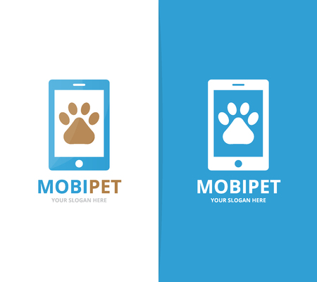 Vector paw and phone logo combination. Pet and mobile symbol or icon. Unique vet and device logotype design template.