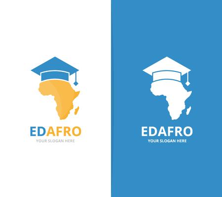 벡터 아프리카 및 대학원 모자 로고 조합입니다. 사파리와 연구 기호 또는 아이콘입니다. 독특한 지리, 대륙 및 대학 로고 타입 디자인 템플릿.