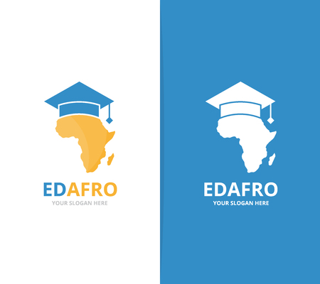 Vector africa and graduate hat logo combination. Safari and study symbol or icon. Unique geography, continent and college logotype design template.