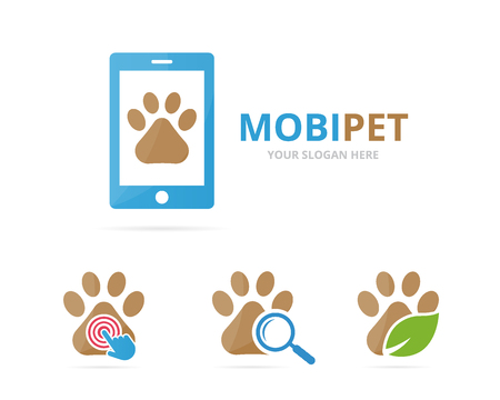 Set of paw logo combination. Pet and mobile symbol or icon. Unique vet and device logotype design template.