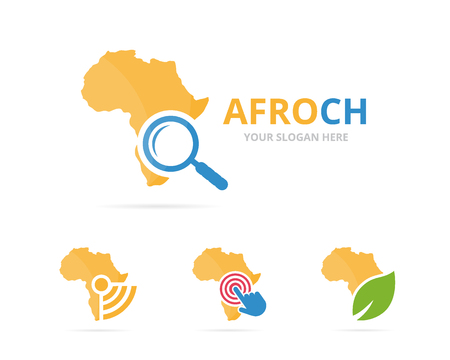 combination: Set of africa logo combination. Safari and magnifying symbol or icon. Unique geography, continent and search logotype design template. Stock Photo