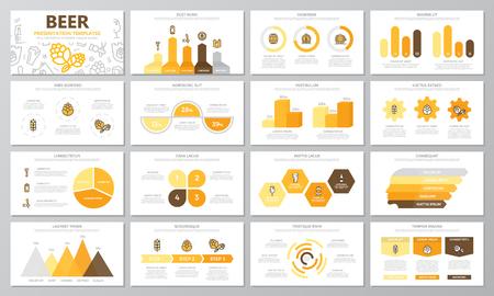 Reeks bier en bar, barelementen voor multifunctionele presentatiemalplaatjedia's met grafieken en grafieken. Folder, bedrijfsrapport, marketing, reclame, jaarverslag, boekomslagontwerp.