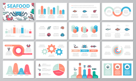 Set of fish and sea food elements for multipurpose presentation template slides with graphs and charts. Leaflet, corporate report, marketing, advertising, annual report, book cover design. Illustration