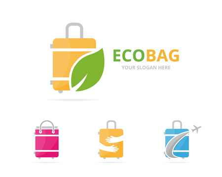 Set of bag logo combination. Baggage and eco symbol or icon. Unique travel and organic logotype design template.