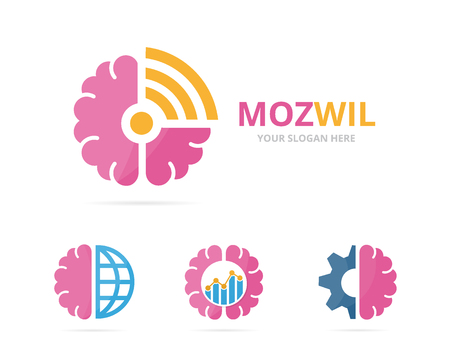 Set of brain logo combination. Education and signal symbol or icon. Unique science and radio, internet logotype design template. Illustration