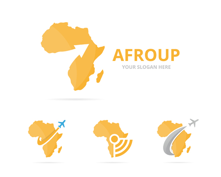 flat earth: Set of africa logo combination. Safari and growth symbol or icon. Unique geography, continent and upload logotype design template. Illustration