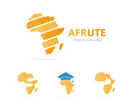 flat earth: Set of africa logo combination. Safari symbol or icon. Unique continent logotype design template.