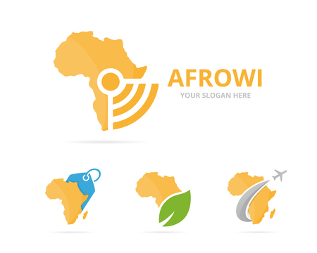 Set of africa logo combination. Safari and signal symbol or icon. Unique continent and radio, internet logotype design template. Illustration