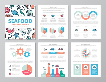Set of colored fish and sea food elements for multipurpose a4 presentation template slides with graphs and charts. Leaflet, corporate report, marketing, advertising, annual report, book cover design.