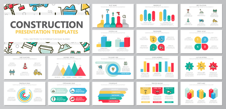다용도 프레 젠 테이 션 서식 파일에 대 한 건설 및 복구 요소 집합 그래프 및 차트와 슬라이드. 전단지, 기업 보고서, 마케팅, 광고, 연례 보고서, 도서