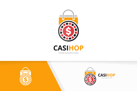 Vector casino and shop logo combination. Chip and sale symbol or icon. Unique roulette game and bag logotype design template.