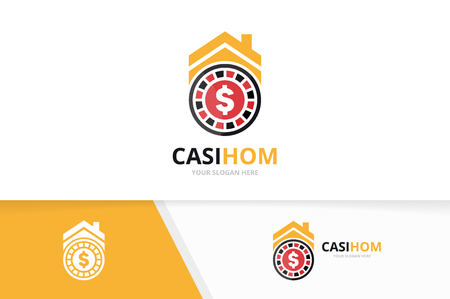 Vector casino and real estate logo combination. Chip and house symbol or icon. Unique roulette game and rent logotype design template. Illustration
