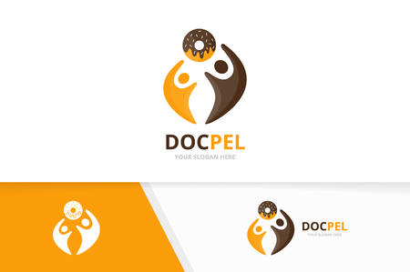 Vector donut and people logo combination. Doughnut and family symbol or icon. Unique bakery and union, help, connect, team logotype design template.