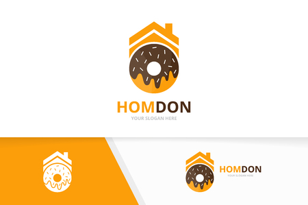 Vector donut and real estate logo combination. Doughnut and house symbol or icon. Unique bakery and rent logotype design template.