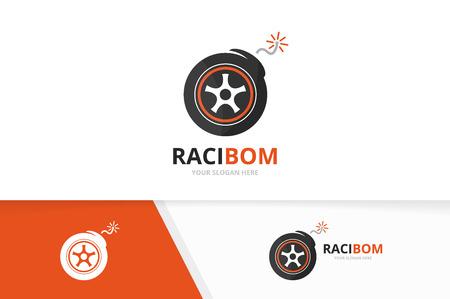 Vector combinatie van wiel en bom-logo. Banden en ontploffen symbool of pictogram. Uniek ontwerpsjabloon voor banden en wapens. Stock Illustratie