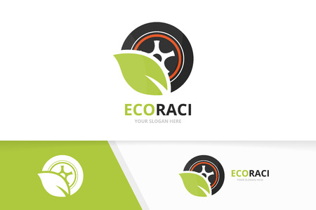 Vector wheel and leaf icon combination. Tire and eco symbol or icon. Unique tyre and organic icontype design template.