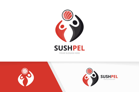 Vector sushi and people logo combination. Japanese food and family symbol or icon. Unique seafood and union, help, connect, team logotype design template.