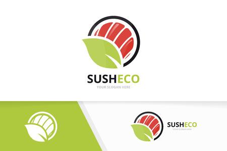 Vector sushi and leaf emblem combination set