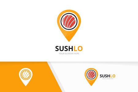 Vector sushi and map pointer logo combination. Japanese food and gps locator symbol or icon. Unique seafood and pin logotype design template.