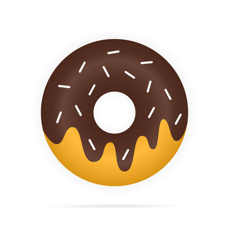 sprinkle: Realistic chocolate donuts in glaze isolated Illustration